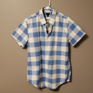 Mens Jcrew checked short sleeve shirt size L